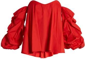 Caroline Constas Gabriella off-the-shoulder cotton-blend top