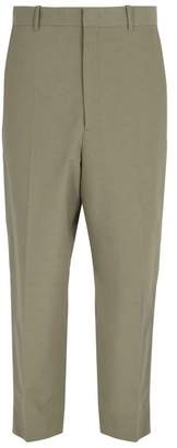 Jil Sander High Rise Cotton Blend Trousers - Mens - Beige