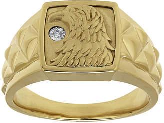 FINE JEWELRY Mens Diamond-Accent 14K Gold Over Silver Eagle's Head Ring
