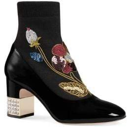 Gucci Embroidered Patent Leather Boots
