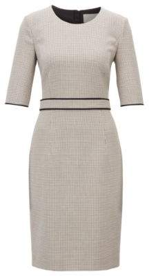 BOSS Hugo Checked dress in stretch fabric cropped sleeves 4 Patterned