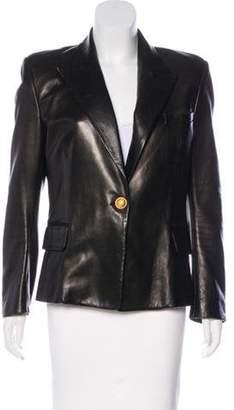 Balmain Leather Structured Blazer Black Leather Structured Blazer