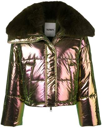 Yves Salomon Army fox fur trim padded jacket