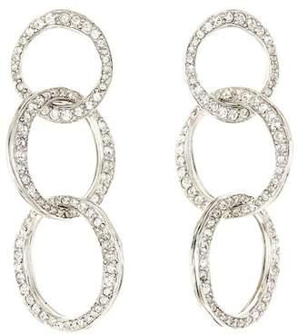 Oscar de la Renta Pave Linked Hoop Drop Earrings