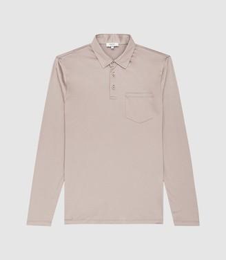 Reiss Robbie - Mercerised Cotton Polo Shirt in Mink