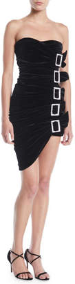 Alexandre Vauthier Sweetheart-Neck Strapless 5-Buckle Ruched Velvet Mini Cocktail Dress