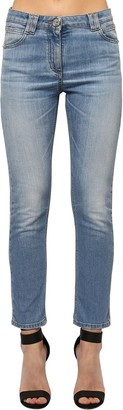 Balmain Slim Washed Cotton Blend Denim Jeans