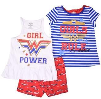 """Wonder Woman Little Girls' 4-6X """"Girls Rule"""" T-Shirt, Tank Top, and Short 3-Piece Outfit Set"""