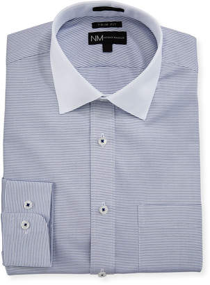 Neiman Marcus Trim-Fit Regular-Finish Horizontal-Striped Dress Shirt