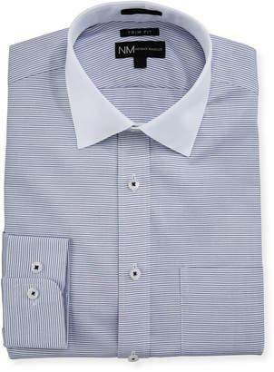 Neiman Marcus Trim-Fit Regular-Finish Horizontal-Striped Dress Shirt
