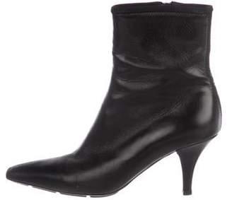 Prada Leather Square-Toe Boots Black Leather Square-Toe Boots