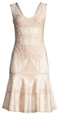 Herve Leger Sleeveless Flounce Bandage Dress