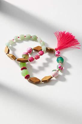 Anthropologie Pink-Tasseled Bracelet Set
