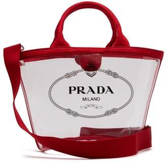 91a270601b56 Prada Logo Print Clear Pvc Tote - Womens - Red
