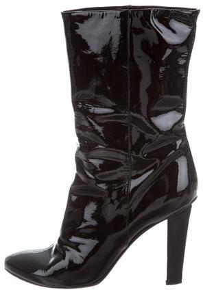 Jimmy Choo Jimmy Choo Patent Leather Round-Toe Ankle Boots