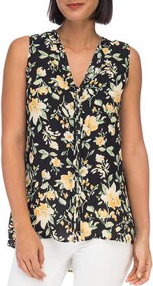 Bobeau B Collection by Lily-Print Pintuck Top