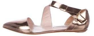 Oscar de la Renta Leather Pointed-Toe Pumps