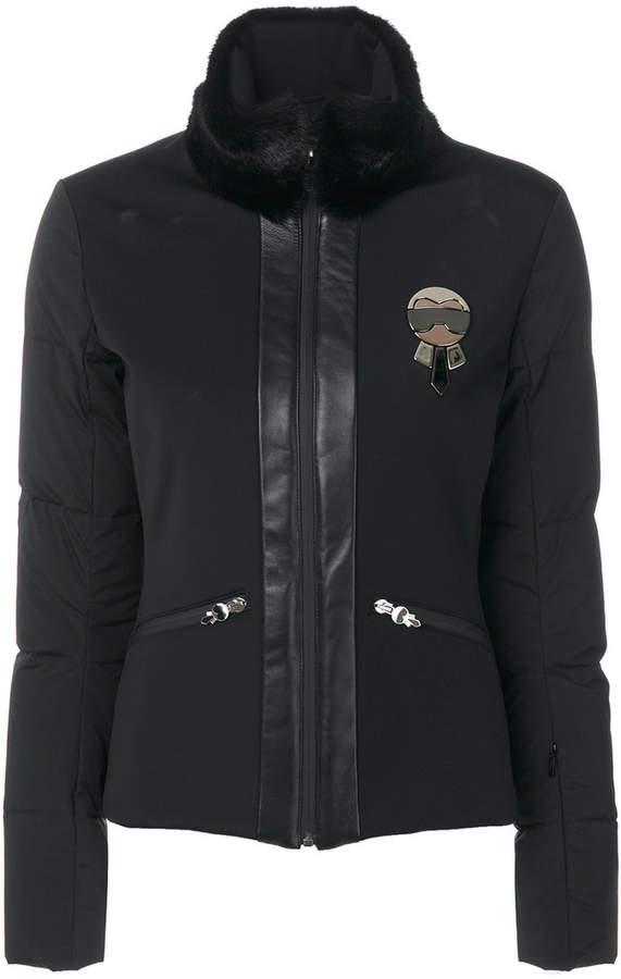 Fendi trim Karl brooch coat