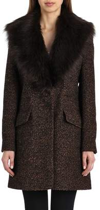 Badgley Mischka Belle 'Holly' Faux Fur Collar Boucle Coat