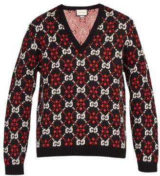 Gucci Gg Supreme V Neck Cotton Blend Sweater - Mens - Black
