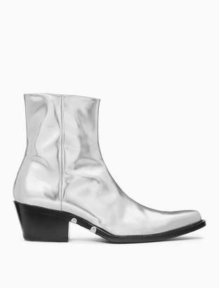 Calvin Klein western ankle boot in metallic leather