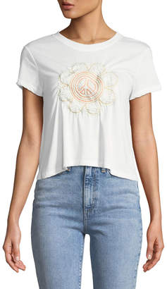 Knit Riot Flower-Peace Embroidered Crop Tee