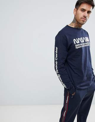 Pull&Bear NASA long sleeved top in navy with print