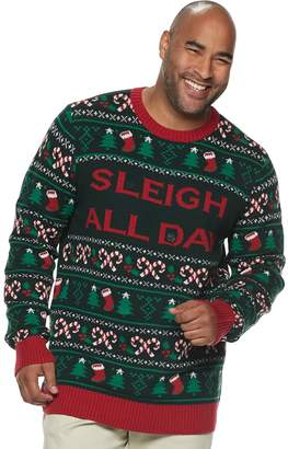 "Big & Tall ""Sleigh All Day"" Light-Up Christmas Sweater"