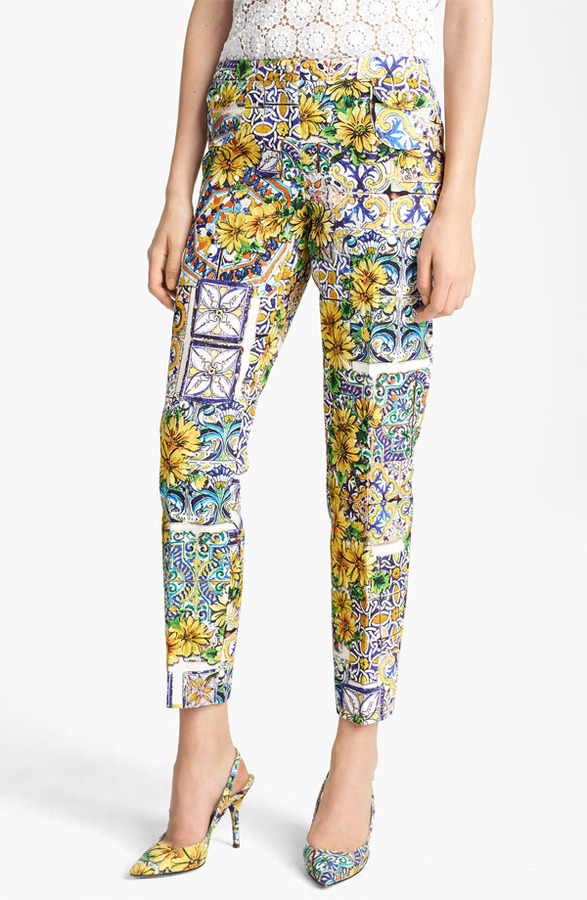 Dolce&Gabbana Skinny Leg Print Capris