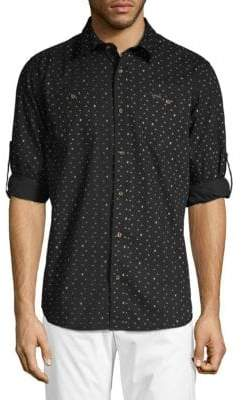 Buffalo David Bitton Saladeen Arrow Print Tab-Sleeve Shirt
