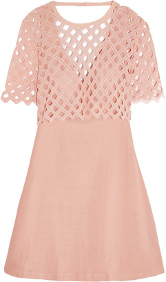 Sandro Crochet-paneled cotton and linen-blend mini dress $570 thestylecure.com