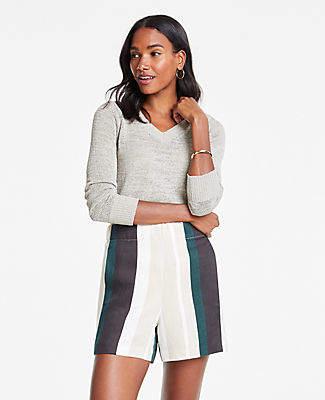 Ann Taylor Striped Linen Blend Shorts
