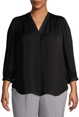 Vince Camuto Plus High-Low V-Neck Blouse