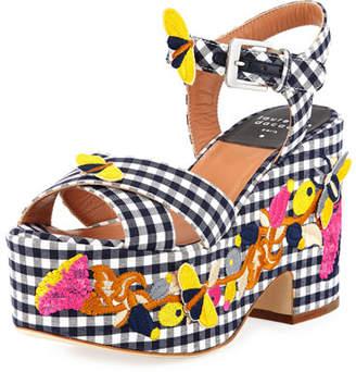 Laurence Dacade Helissa Gingham Embroidered Platform Wedge Sandal