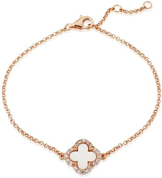 Mother of Pearl Auree Jewellery Irini Rose Gold and Clover Bracelet