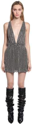 Saint Laurent Swarovski Crystals Silk Georgette Dress