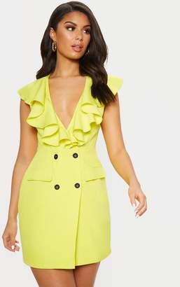 37f722f9e1a PrettyLittleThing Bright Yellow Frill Detail Sleeveless Blazer Dress