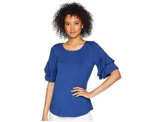 Karen Kane Ruffle Sleeve Top Women's Clothing