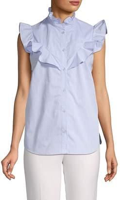 Parker Women's Ruffled Striped Cotton Top