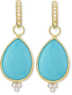 Jude Frances Large Pear Turquoise Earring Charms with Diamonds