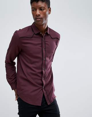 Asos Design DESIGN regular fit western viscose shirt in Burgundy