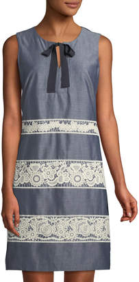 Karl Lagerfeld Paris Tie-Neck Lace-Striped Chambray Dress