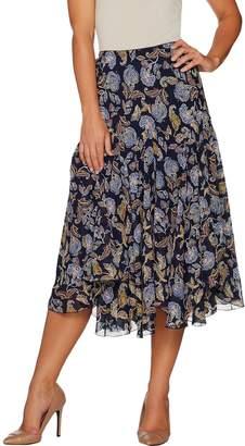 Susan Graver Printed Sheer Chiffon Fully Lined Skirt