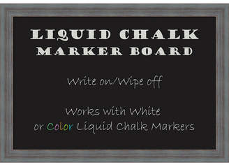 Amanti Art Dixie Blue Grey Rustic 26x18 Framed Liquid Chalk Marker Board