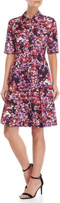 Carolina Herrera Floral Pleated Shirtdress