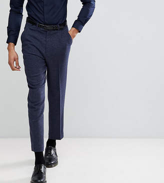 Asos DESIGN TALL Tapered Smart Pants In Navy Wool Mix Texture