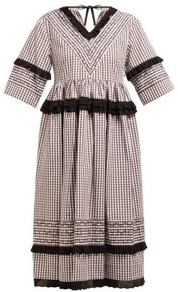 Molly Goddard Frank Cross Stitched Gingham Cotton Midi Dress - Womens - Brown