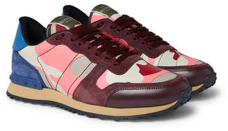 Valentino Garavani Rockrunner Camouflage-Print Canvas, Leather and Suede Sneakers - Men - Pink