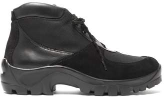 Our Legacy Nebula Leather, Suede And Mesh Hiking Boots - Mens - Black