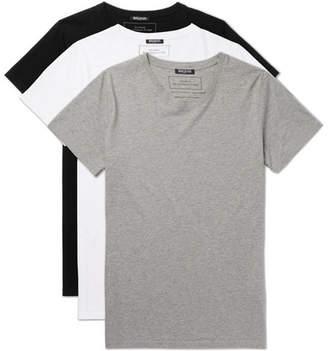 Balmain Three-Pack Slim-Fit Distressed Cotton-Jersey T-Shirts - Multi